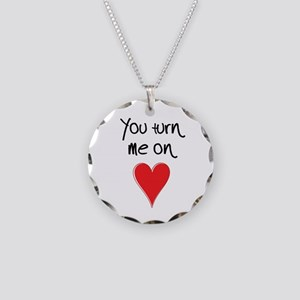 You Turn Me On - Heart and T Necklace Circle Charm