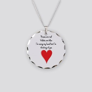 Roses are red, violets are b Necklace Circle Charm