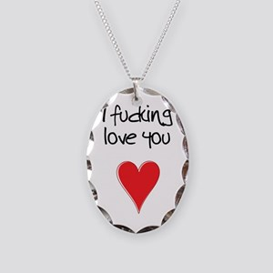 I Fucking Love You - Heart and Necklace Oval Charm