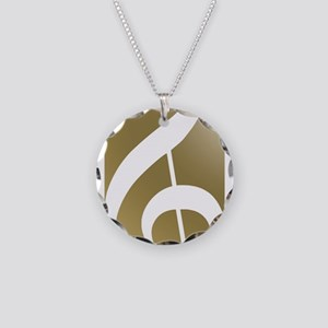 Treble Clef on Gold Necklace Circle Charm
