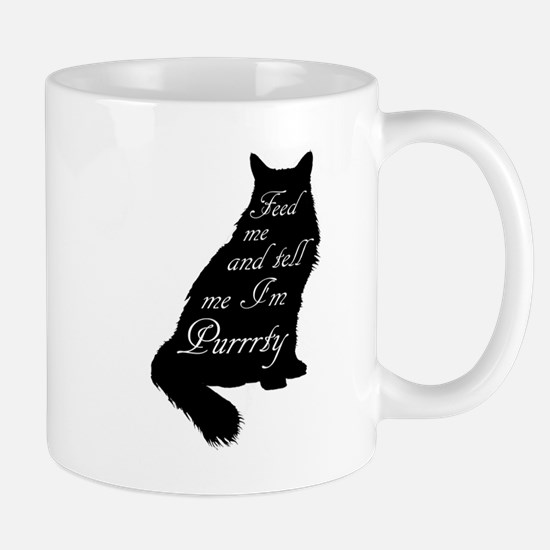 Feed me and tell me I'm Purrrty Mugs