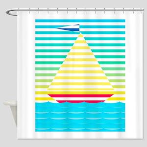 Sailboat Vector Shower Curtain