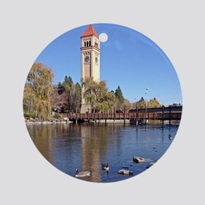 Clock Tower River View Round Ornament