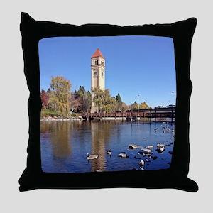 Clock Tower River View Throw Pillow