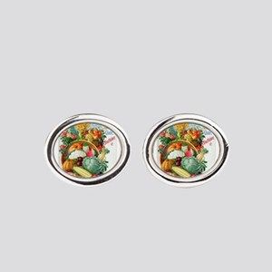 1898 Plant and Seed Guide Oval Cufflinks