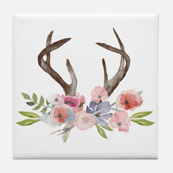 Rustic Watercolor Wildflower Bouquet Tile Coaster