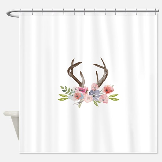 Rustic Watercolor Wildflower Bouquet and Antlers S