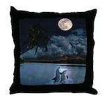 Dolphin Moon Throw Pillow