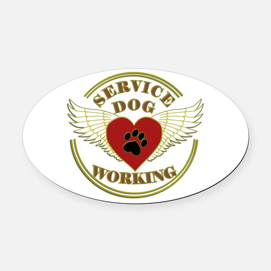 SERVICE DOG WORKING WINGS Oval Car Magnet