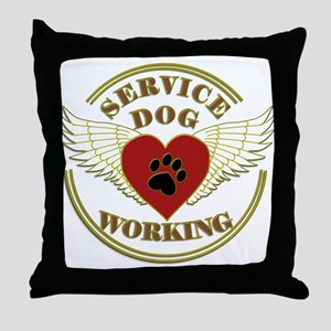 SERVICE DOG WORKING WINGS Throw Pillow