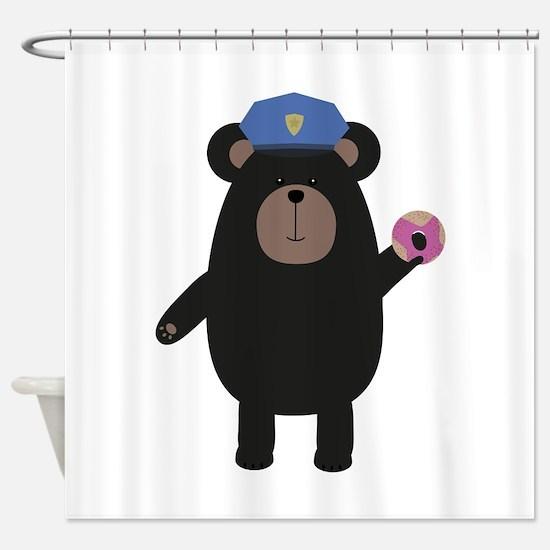 Black Bear Police Officer Shower Curtain