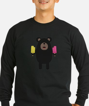 Black Bear with Icecream Long Sleeve T-Shirt