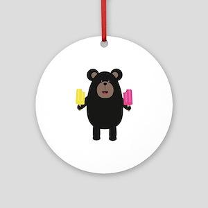 Black Bear with Icecream Round Ornament