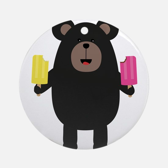 Black Bear with Icecream Round Ornament