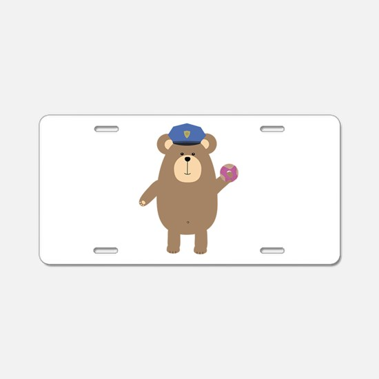 Police Office Brown Bear Aluminum License Plate