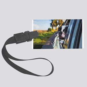 Happy Dog On The Road Large Luggage Tag