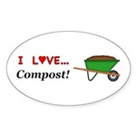 I Love Compost Sticker (Oval 10 pk)