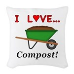 I Love Compost Woven Throw Pillow