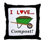I Love Compost Throw Pillow