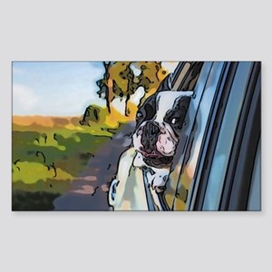 Happy dog on the road Sticker
