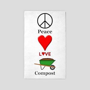 Peace Love Compost Area Rug
