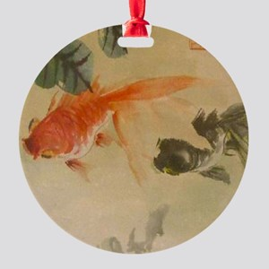 koi fish goldfish Vintage Japanese Round Ornament