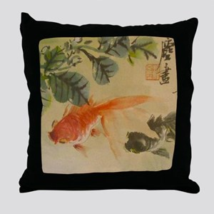 koi fish goldfish Vintage Japanese Throw Pillow