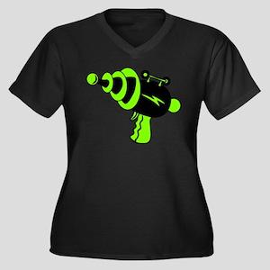 Neon Green Ray Gun Plus Size T-Shirt