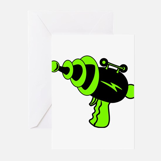 Neon Green Ray Gun Greeting Cards