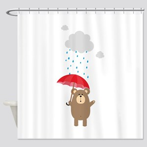 Brown Bear with Umbrella Shower Curtain