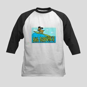 Dog surfing big brother Kids Baseball Jersey