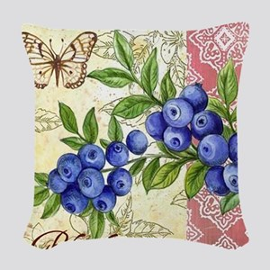 FRENCH MODERN BUTTERFLY AND BLUEBERRY Woven Throw