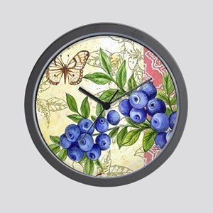 FRENCH MODERN BUTTERFLY AND BLUEBERRY Wall Clock