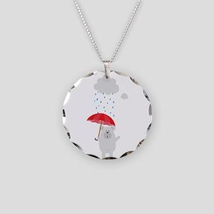 Polar Bear with Umbrella Necklace Circle Charm