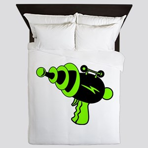 Neon Green Ray Gun Queen Duvet