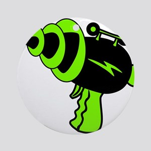 Neon Green Ray Gun Round Ornament