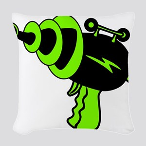 Neon Green Ray Gun Woven Throw Pillow