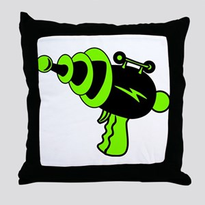 Neon Green Ray Gun Throw Pillow