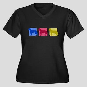 Color Row Carolina Dog Women's Plus V-Neck Dark T