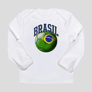 Flag of Brasil Soccer Bal Long Sleeve T-Shirt