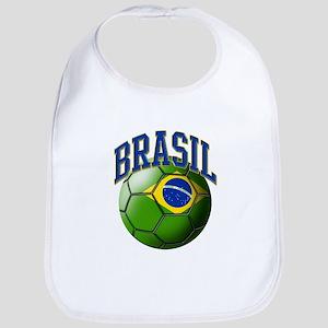 Flag of Brasil Soccer Ball Baby Bib