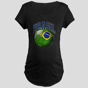 Flag of Brasil Soccer Ball Maternity T-Shirt