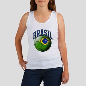 Flag of Brasil Soccer Ball Tank Top