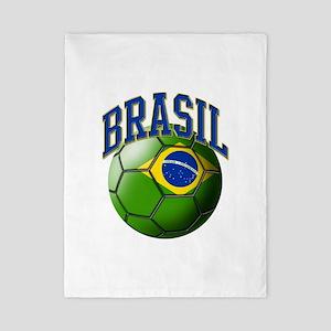 Flag of Brasil Soccer Ball Twin Duvet