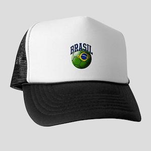 Flag of Brasil Soccer Ball Trucker Hat