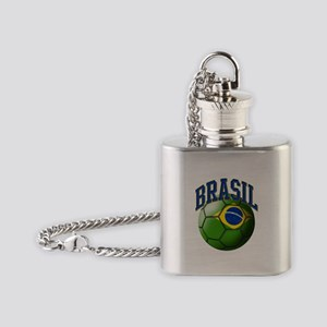 Flag of Brasil Soccer Ball Flask Necklace