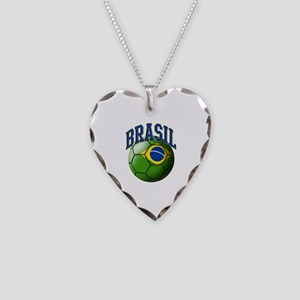 Flag of Brasil Soccer Ball Necklace Heart Charm