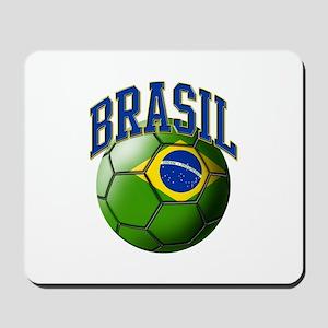 Flag of Brasil Soccer Ball Mousepad