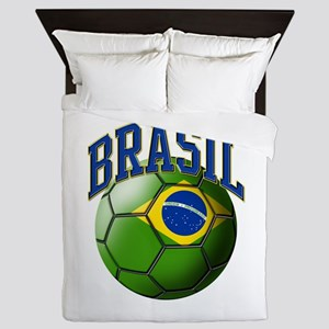 Flag of Brasil Soccer Ball Queen Duvet
