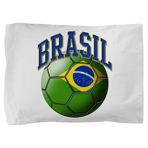 Flag of Brasil Soccer Ball Pillow Sham